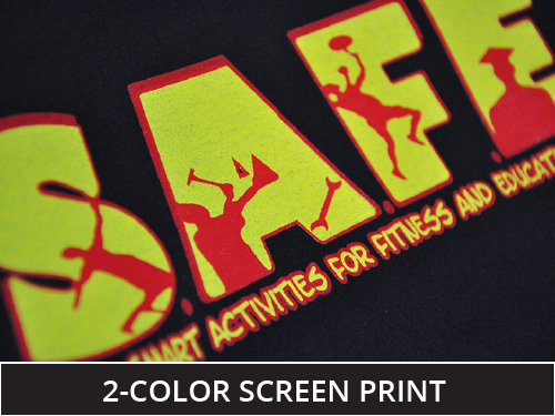 2 color screen print close up