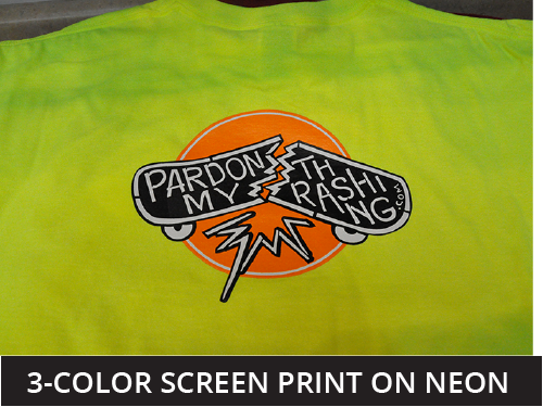 3 color screen print on neon