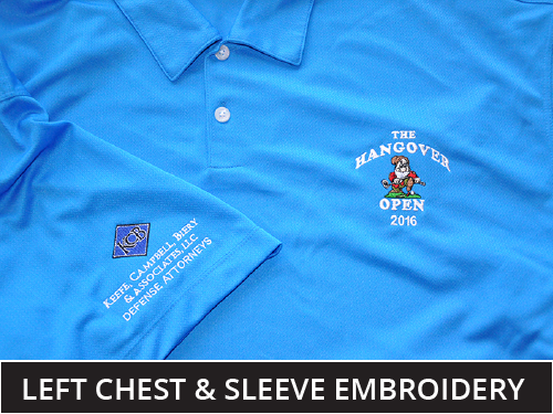 Embroidered Polo, left chest and right sleeve