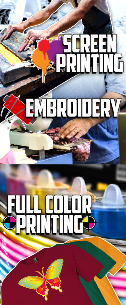 screen printing, embroidery, dtg printing, dye sublimation